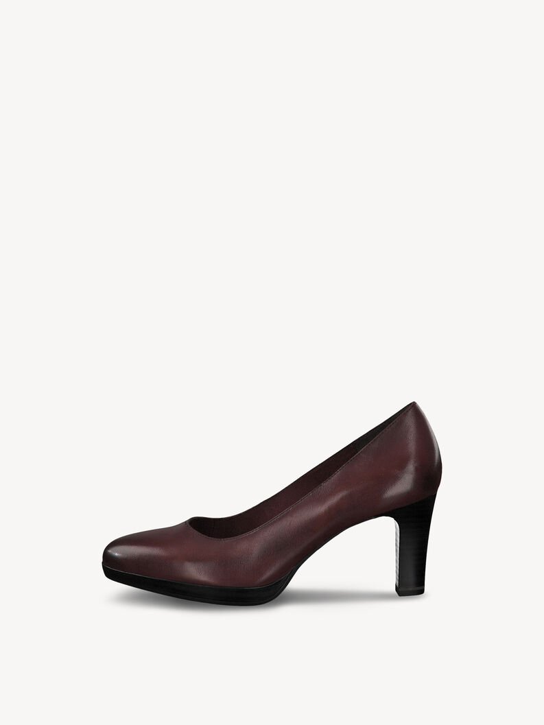 Leather Pumps - red, BORDEAUX, hi-res
