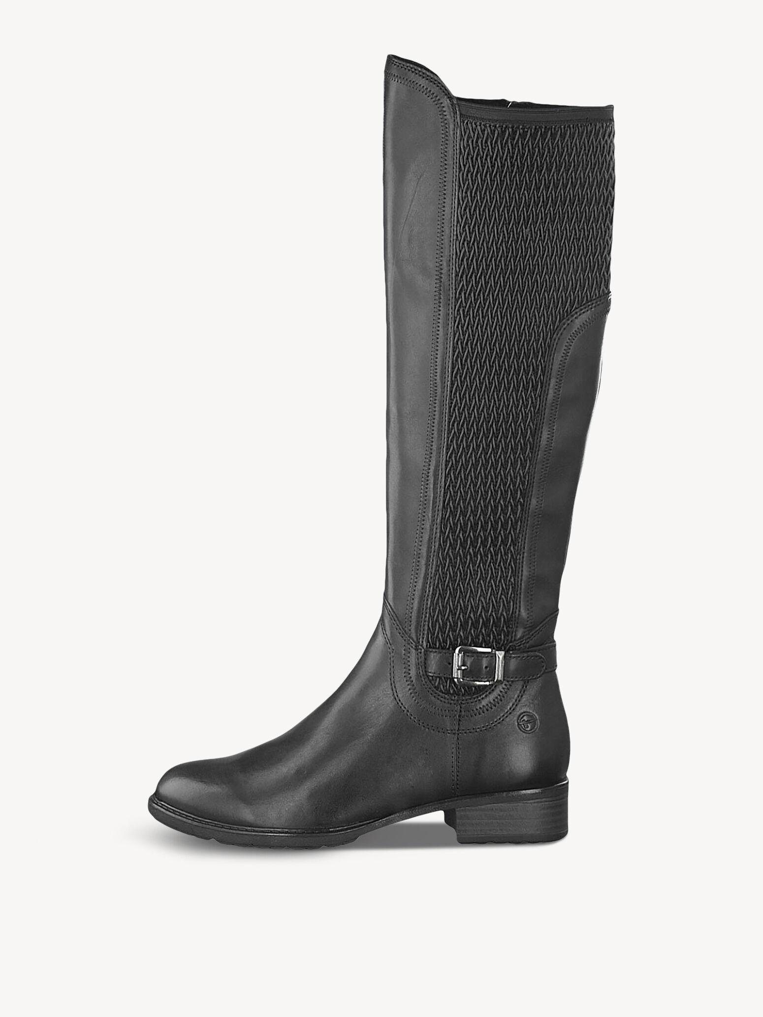 Braune Stiefel mit schmalem Schaft, Tamaris, glattleder