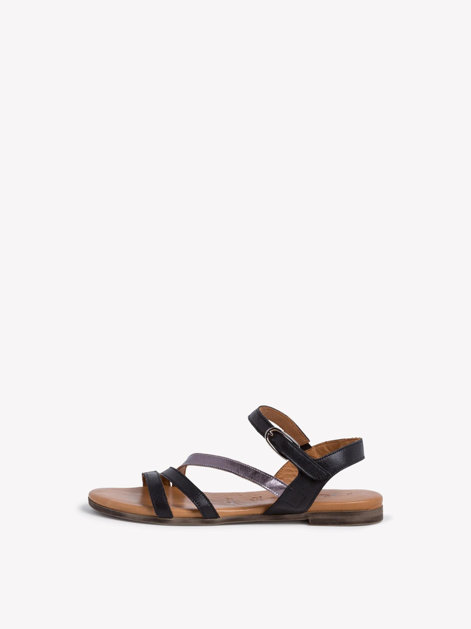 tamaris leren sandalen zwart