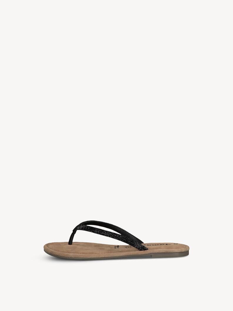 Leren Flip Flops - zwart, BLACK GLAM, hi-res