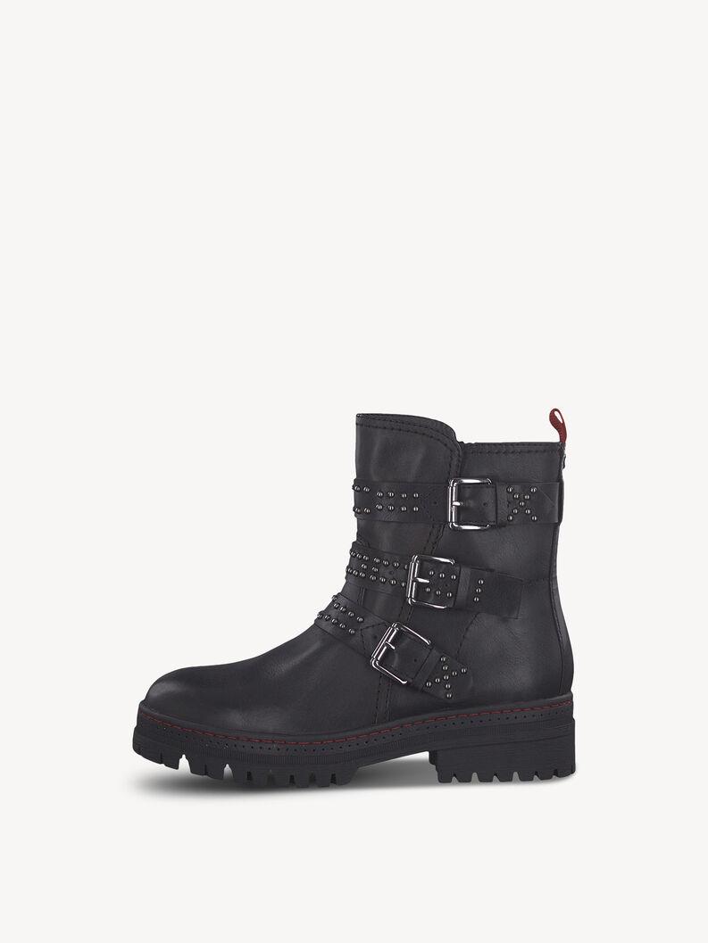 Leather Bootie - black, BLACK/LIPSTICK, hi-res