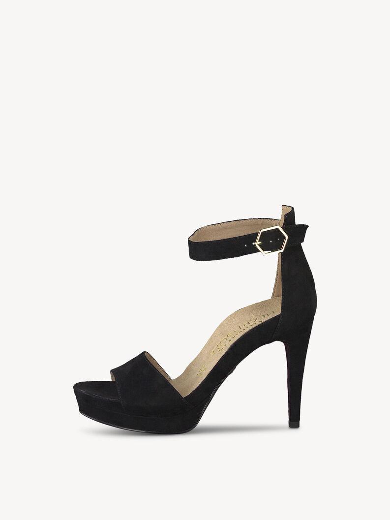 Leather Heeled sandal - black, BLACK SUEDE, hi-res