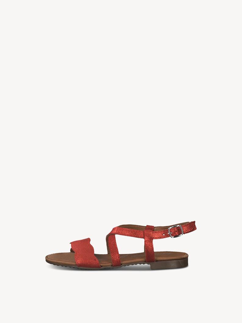 Leather Sandal - red, LIPSTICK MET., hi-res