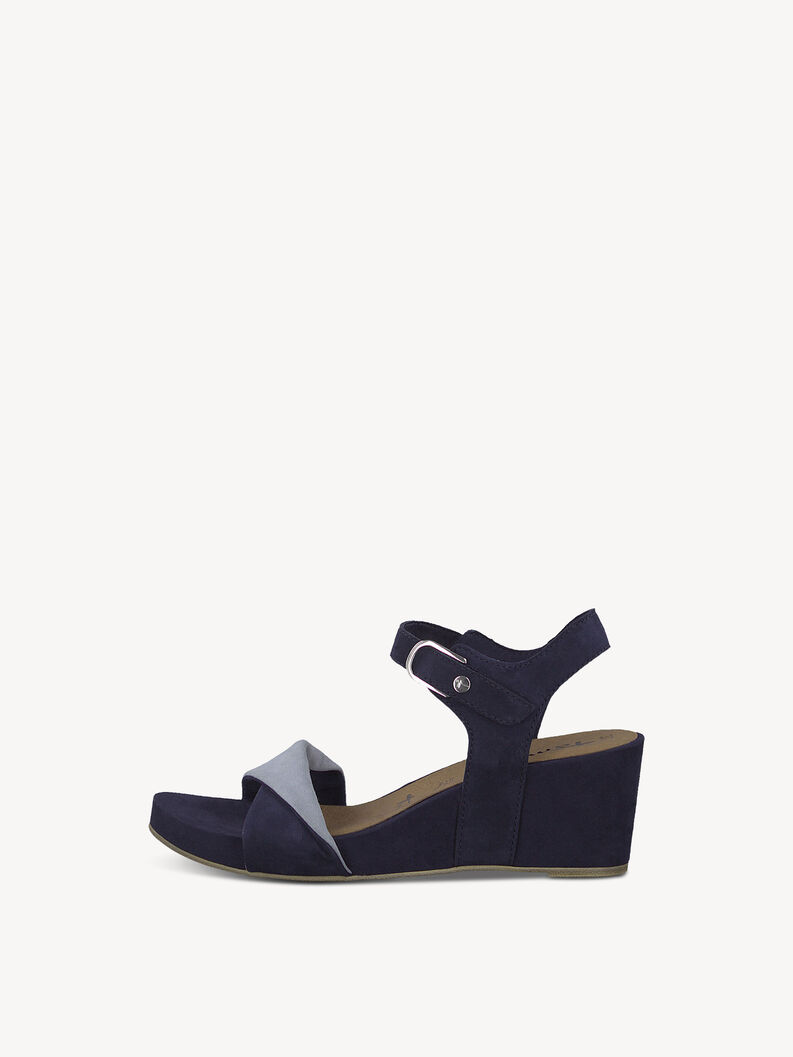 Leren Sandaletten - blauw, NAVY/SKY, hi-res
