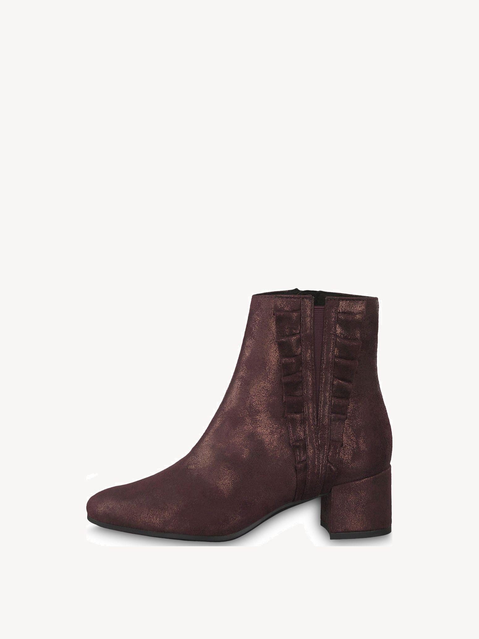 Tamaris 37 Stiefel Stiefeletten schwarz rot Leder