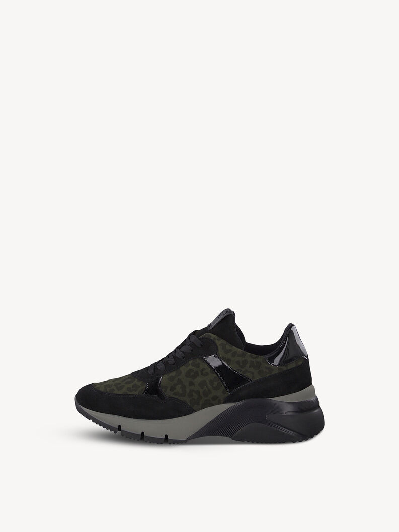 Leather Sneaker - black, BLK/OLIVE LEO, hi-res