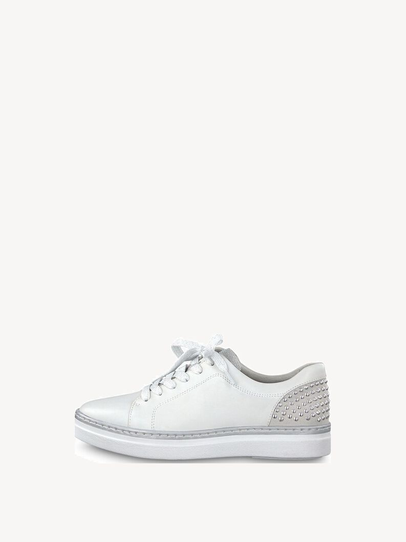 Leather Low shoes - white, WHITE, hi-res