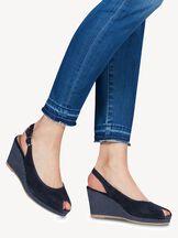 Sandale à talon en cuir - bleu, NAVY/DOTS, hi-res