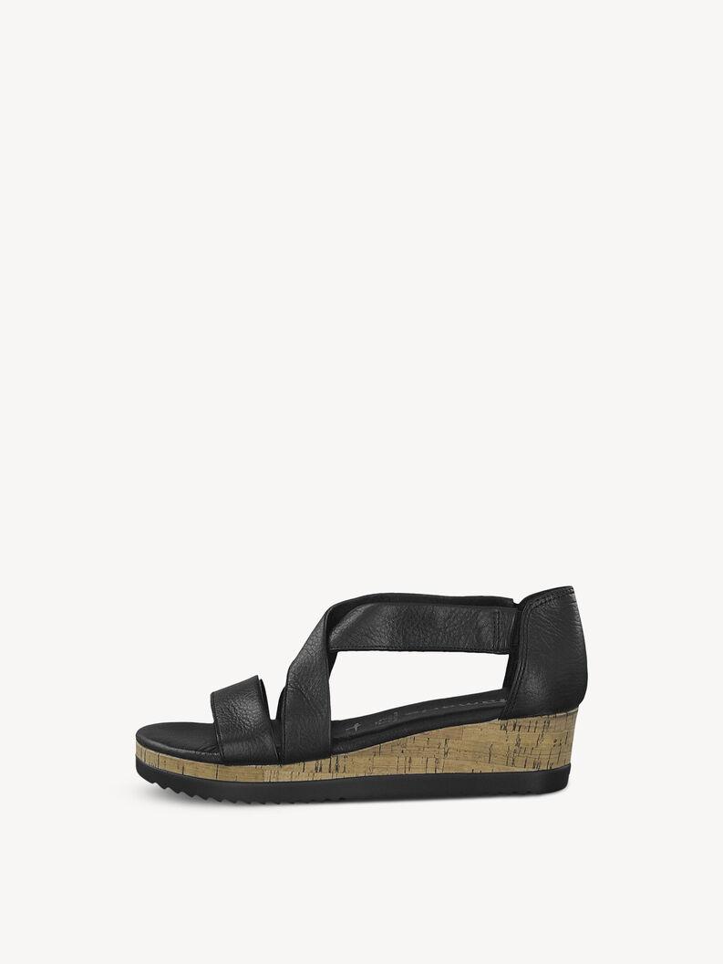 Leren Sandaletten - zwart, BLACK, hi-res