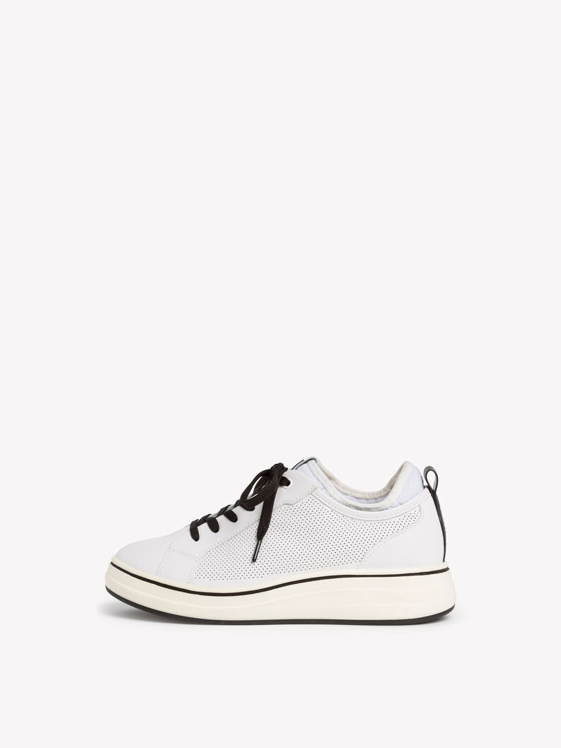 Ledersneaker - weiß, WHITE/BLACK, hi-res