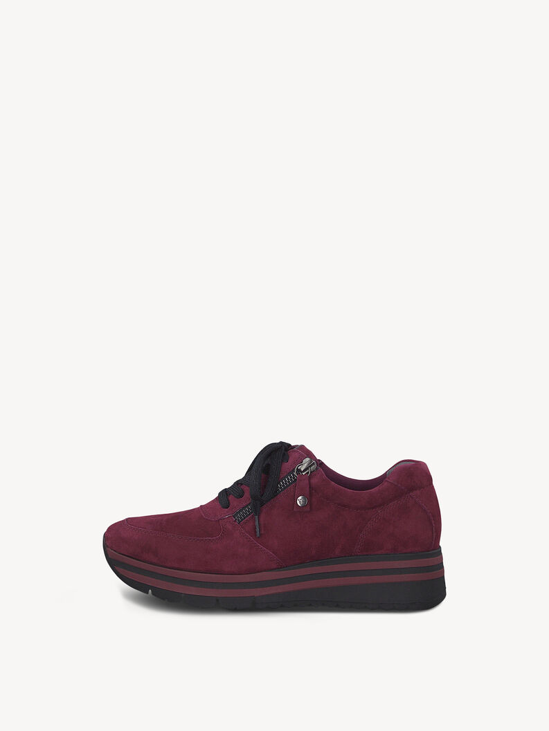 Leather Sneaker - red, MERLOT SUEDE, hi-res