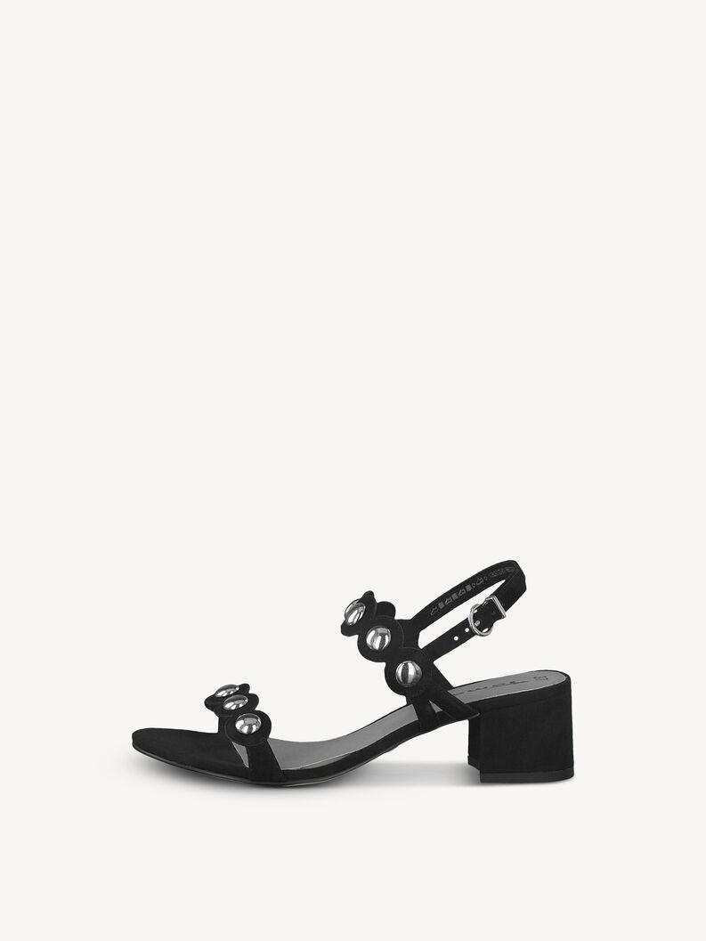 Leather Heeled sandal - black, BLACK, hi-res