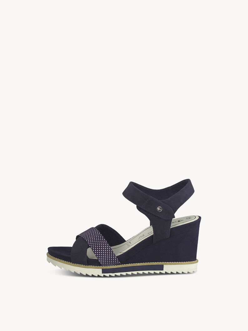 Leather Heeled sandal - blue, NAVY, hi-res