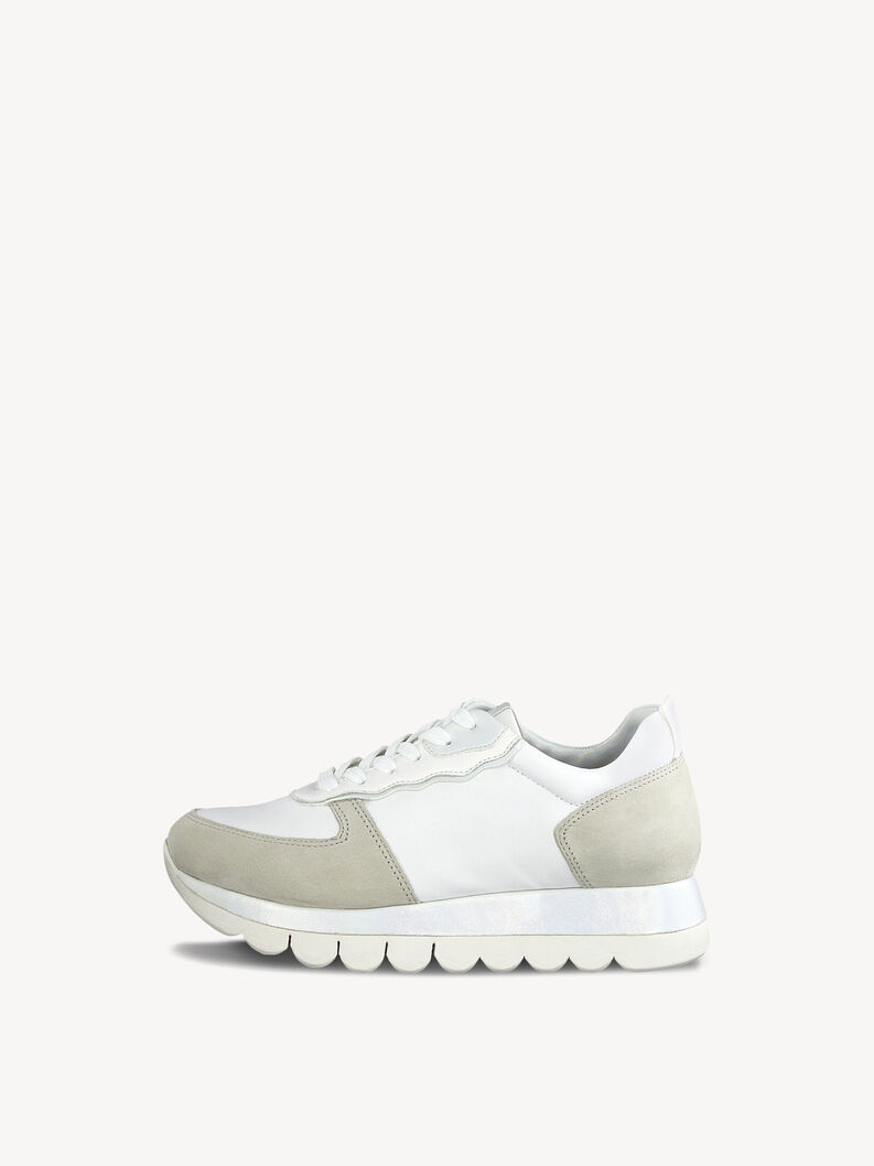 Leather Sneaker - white, WHITE/LT. GREY, hi-res