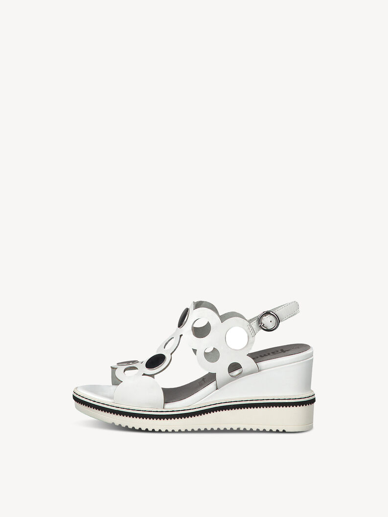 Leather Heeled sandal - white, WHITE, hi-res