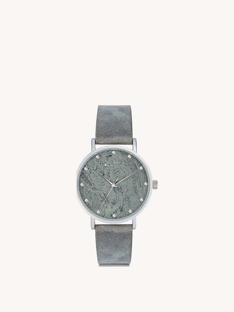 Leather Watch - silver, grey silver, hi-res