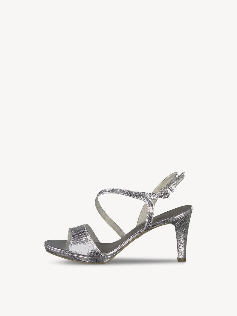 Heeled sandal - metallic, SILVER STRUCT., hi-res