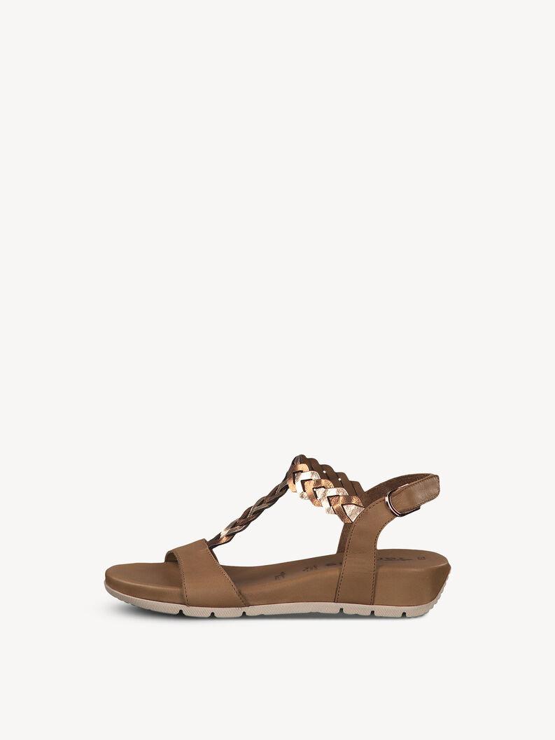 Leather Heeled sandal - brown, COGN./ROSE MET, hi-res