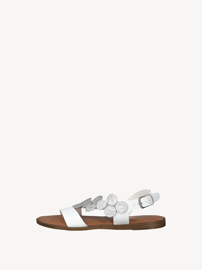 Leather Sandal - white, WHITE/SILVER, hi-res