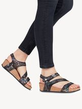 Sandały na obcasie skórzane - czarny, BLACK COMB, hi-res
