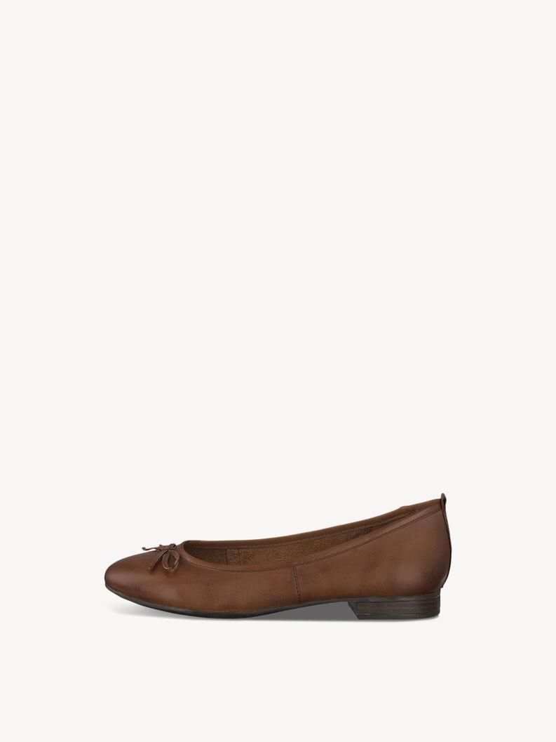 Leather Ballerina - brown, COGNAC, hi-res