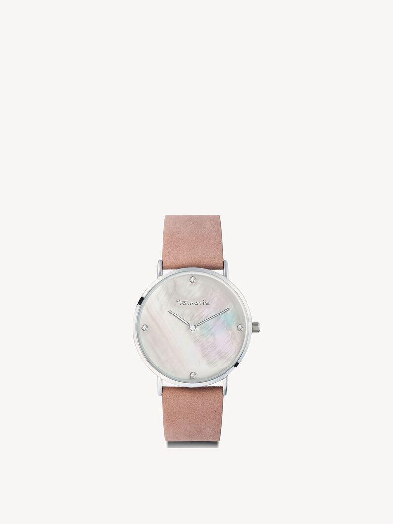 Zegarek skórzane - srebro, rose silver, hi-res