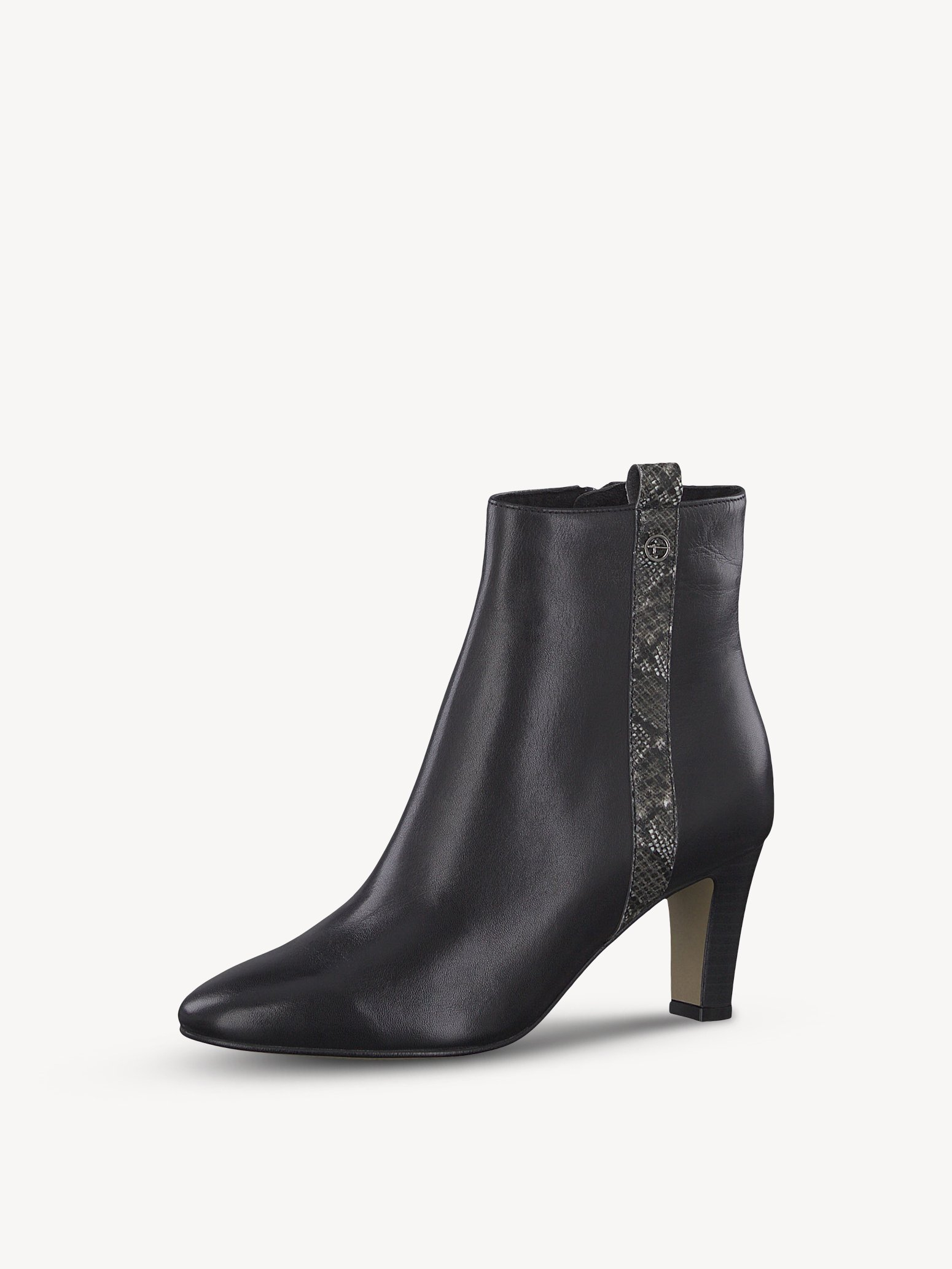 Leather Bootie - black, BLACK/SNAKE, hi-res