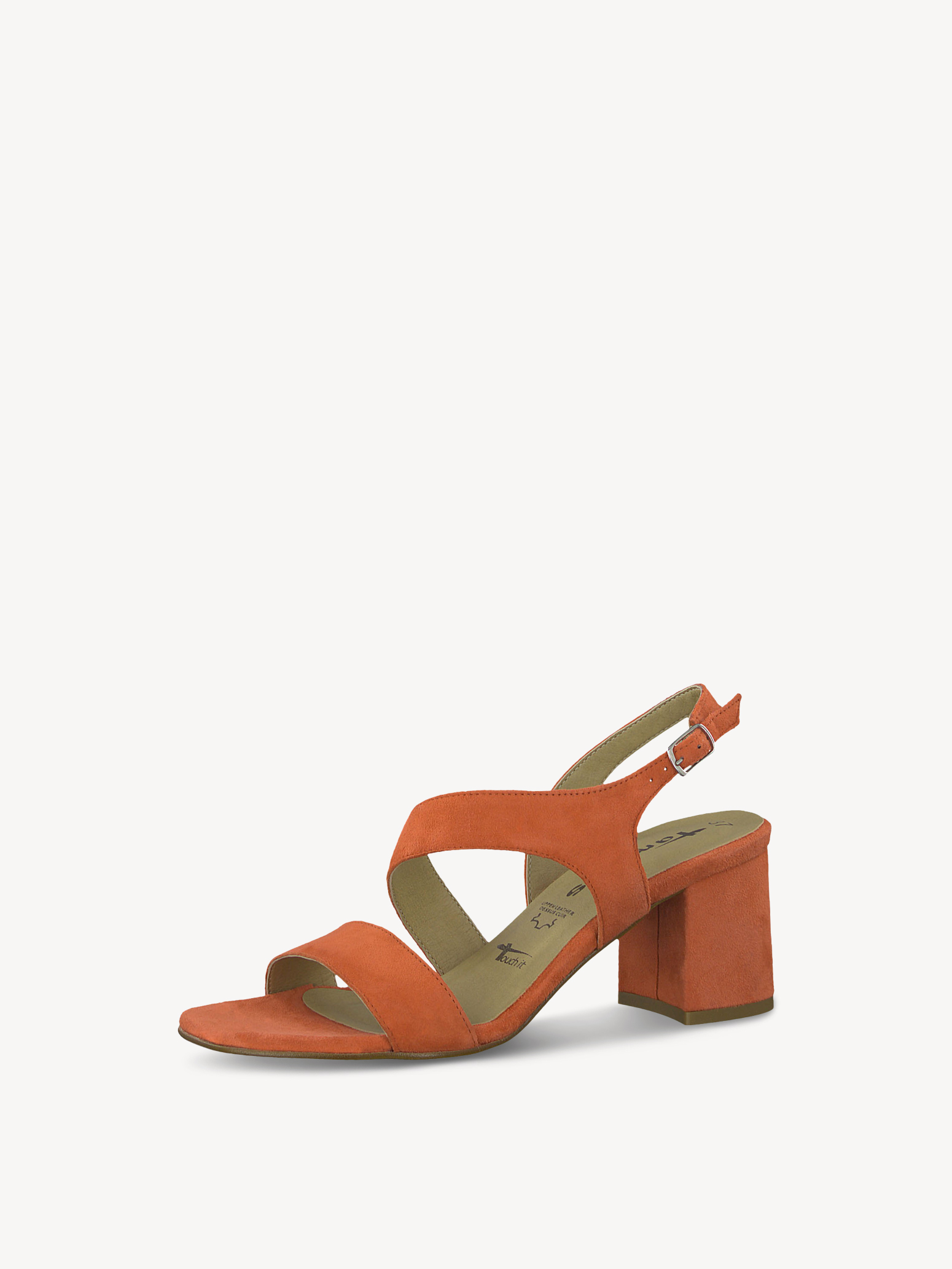 Leather Heeled sandal - red, CORAL, hi-res