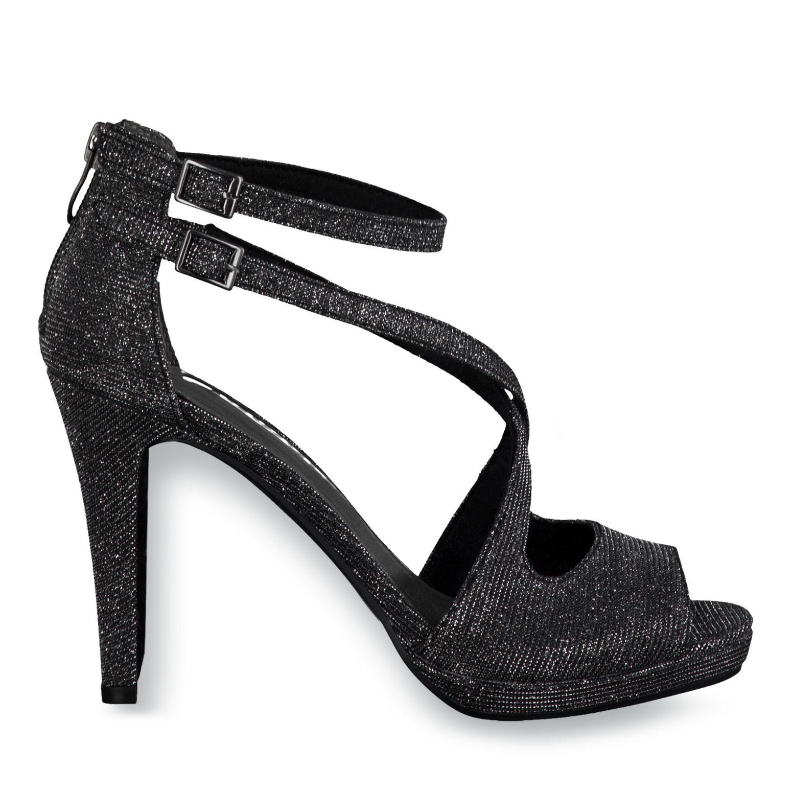 Tamaris High Heels Pumps Sandaletten Glitzer Gr. 37 schwarz