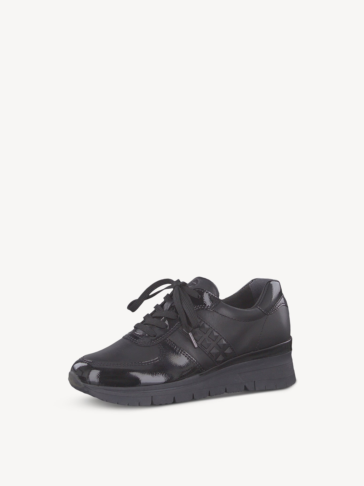 Leather Sneaker - black, BLK LEATH./PAT, hi-res