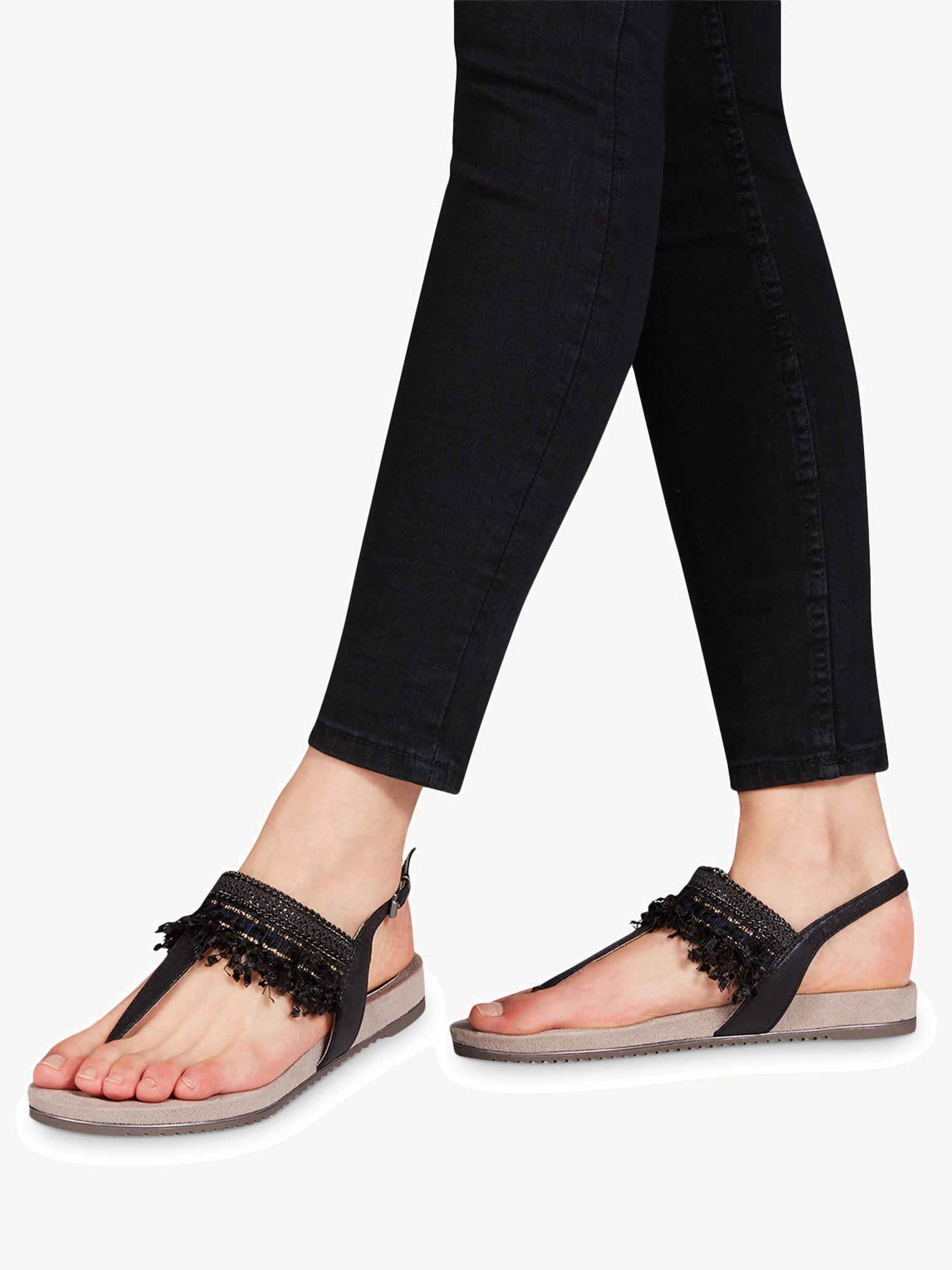 Tamaris 28105 noir | nu pieds sandale femme | ChaussGalerie