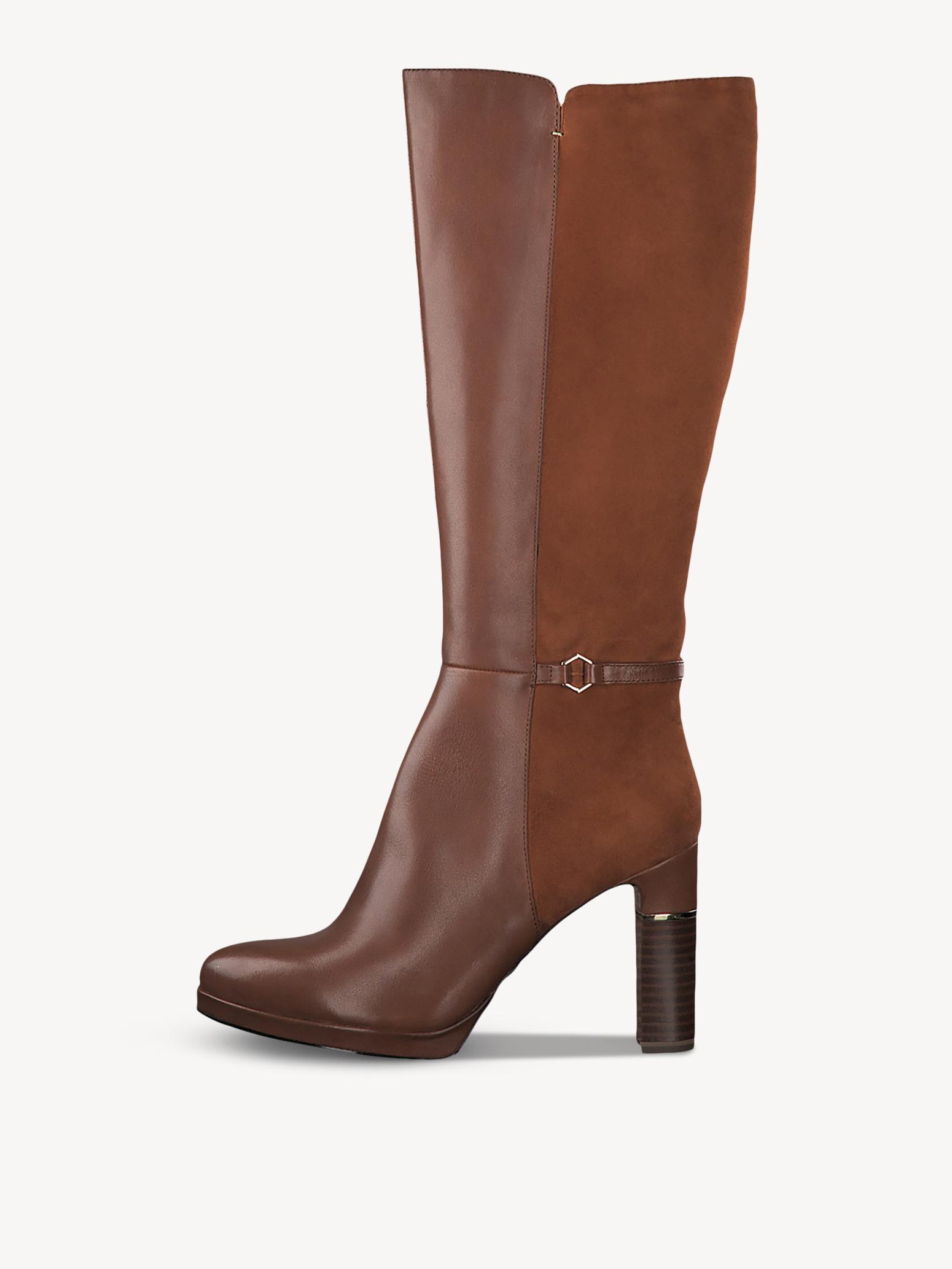 Tamaris – Stiefel aus Leder – Cognac