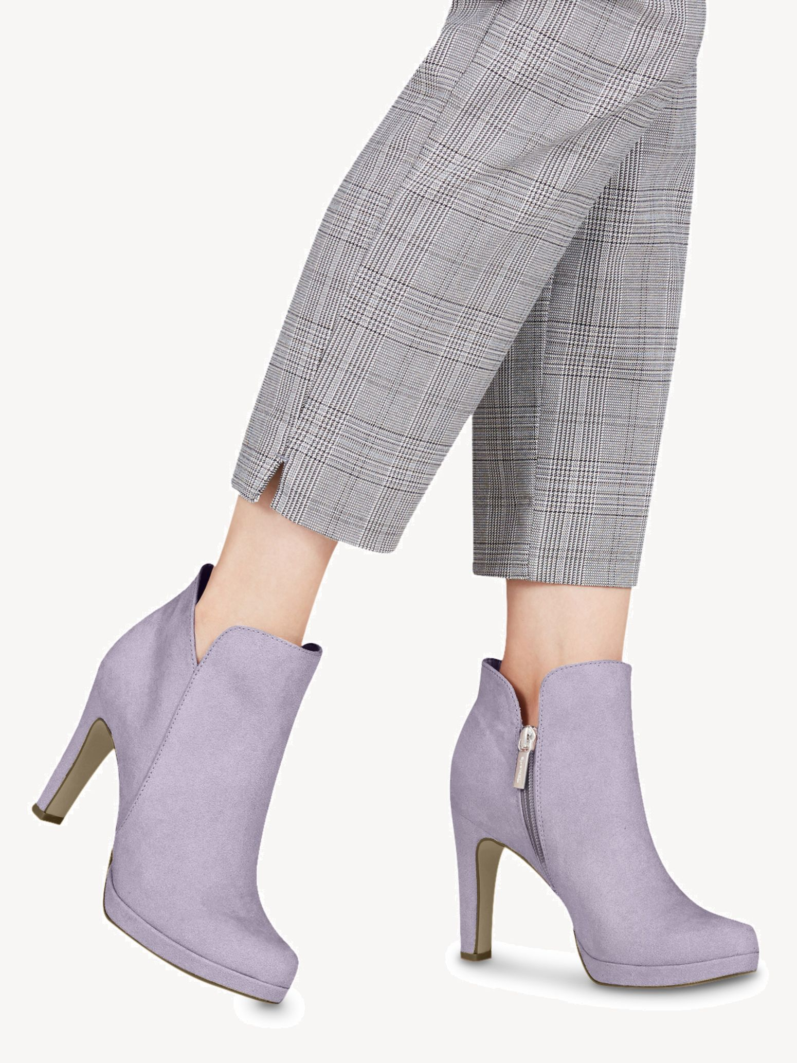 Details about Tamaris Ladies Ankle Boots Shoes with Funnel Heel 25316 Boots Purple Violet