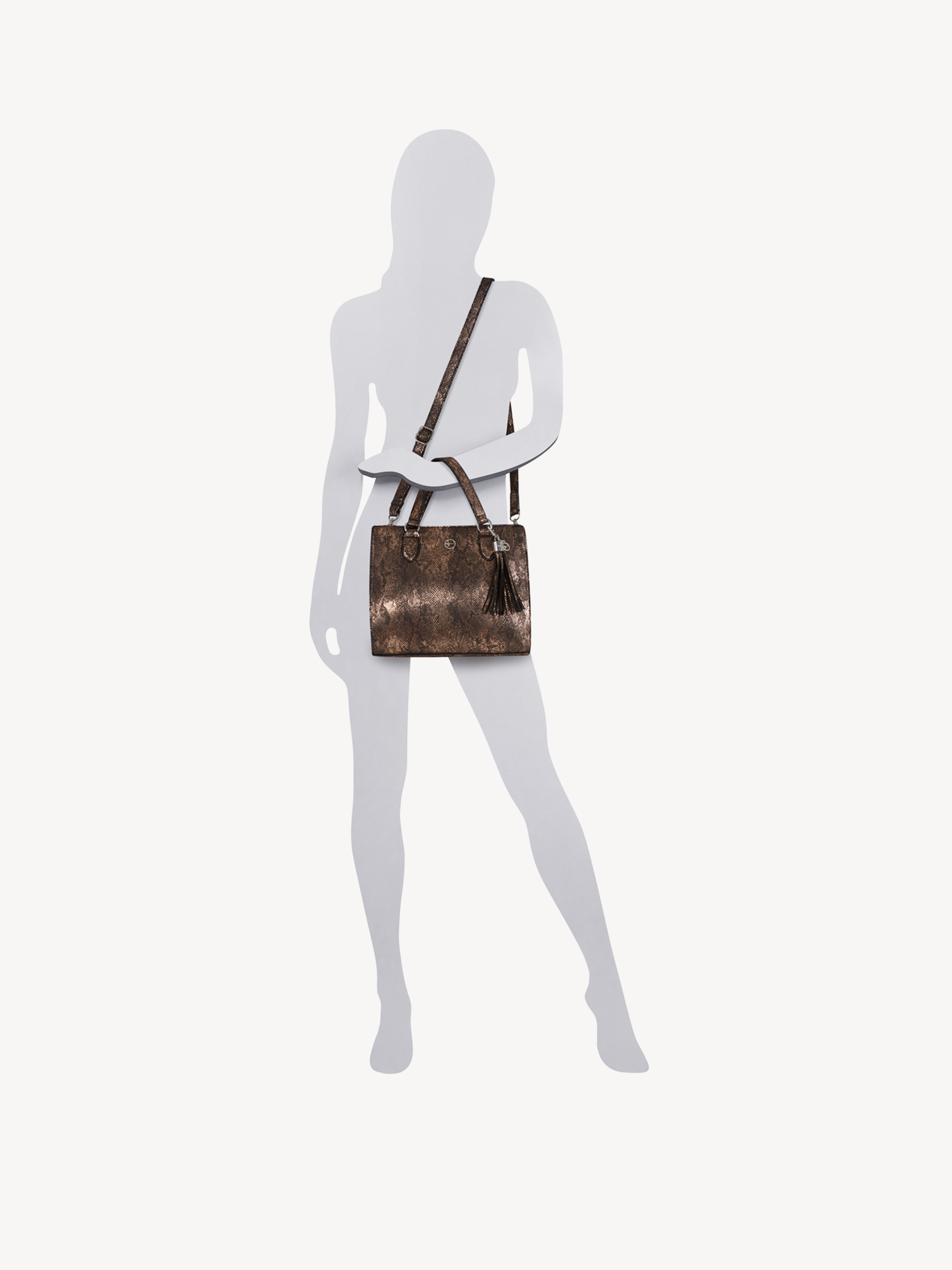 Handbag - brown, bronce, hi-res
