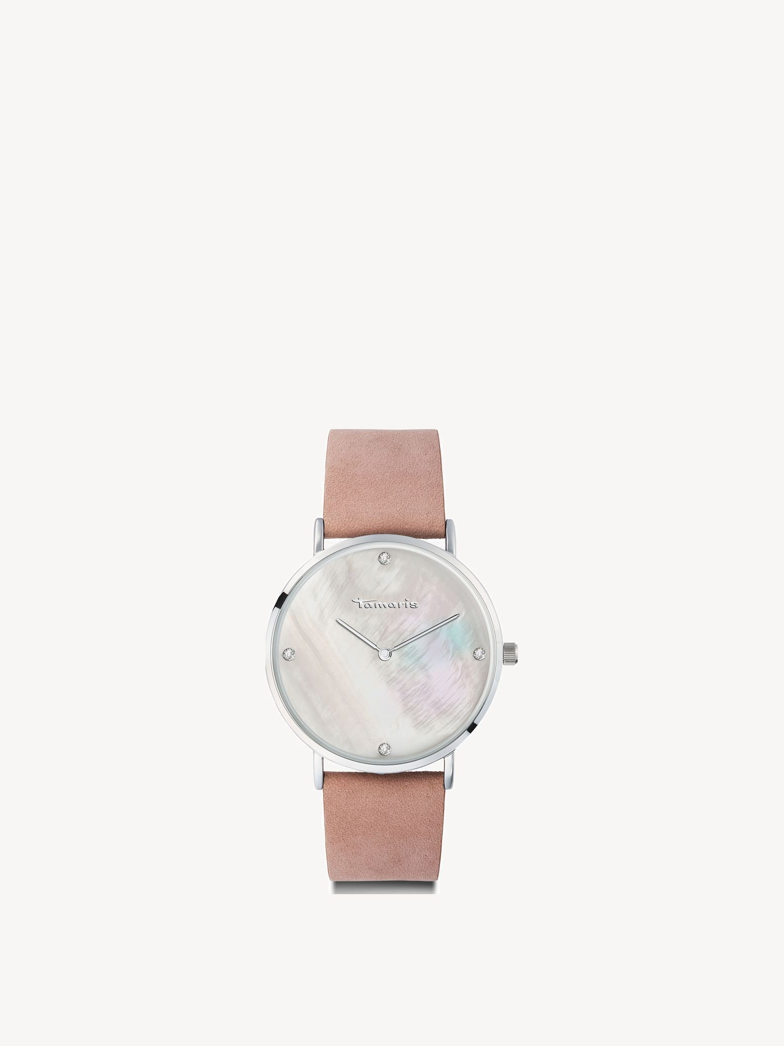 Leather Watch - silver, rose silver, hi-res